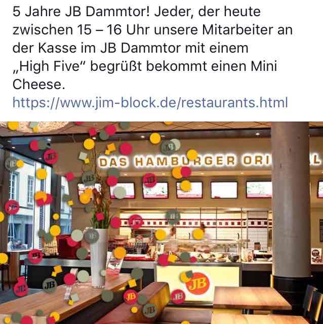 gratis Cheeseburger bei Jim Block