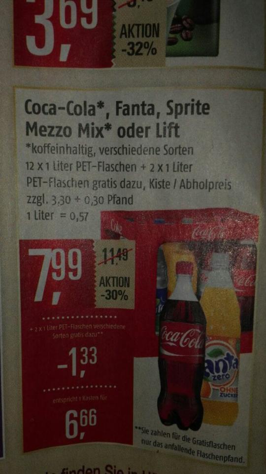 Marktkauf: Kombi-Kiste Coca Cola  plus 2 Flaschen extra für  7.99 €