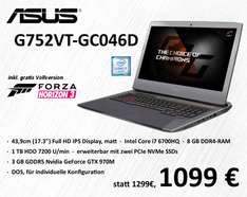 Asus Gaming Notebook G752 für 1099 statt 1299 Euro bei notebook.de