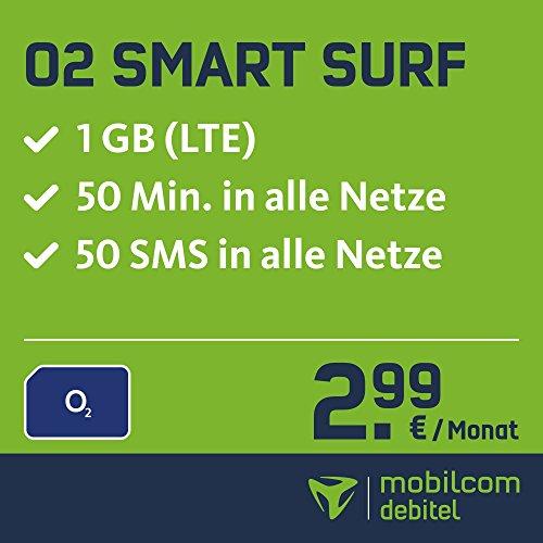 O2 Smart Surf mit 1GB LTE, 50 Frei-Minuten & 50 SMS (3€ Anschlussgebühr)