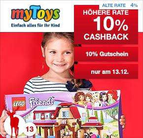 [MyToys / Shoop] 10% Cashback + 10% Neukunden Gutschein ab 59€ Bestellwert [nur heute]