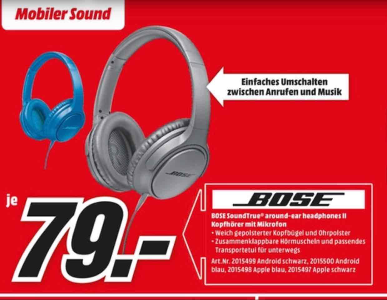 ( Jetzt bundesweit in ausgewählten Märkten ) Bose SoundTrue Around-Ear II für nur 79€ statt 178€