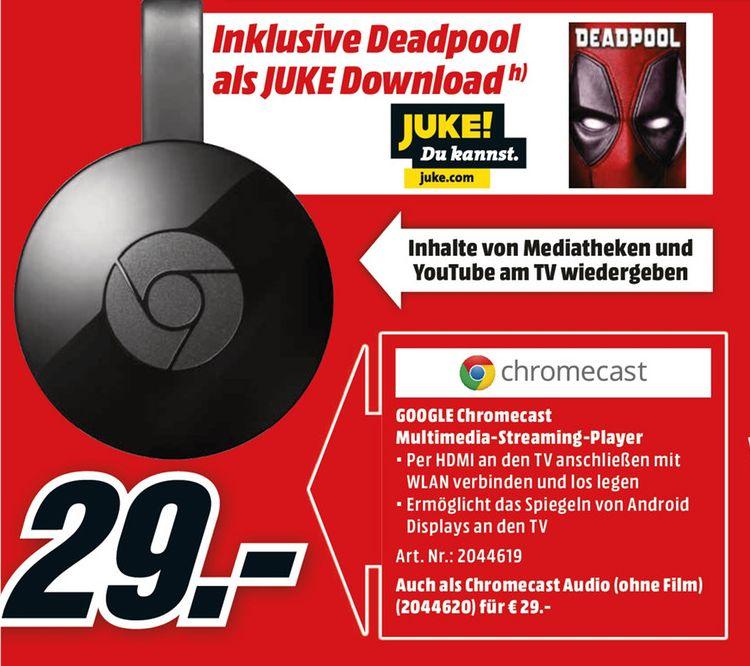 [Mediamarkt] Google Chromecast 2 inc. den Film Deadpool (über Juke) für 29,-€ Versandkostenfrei