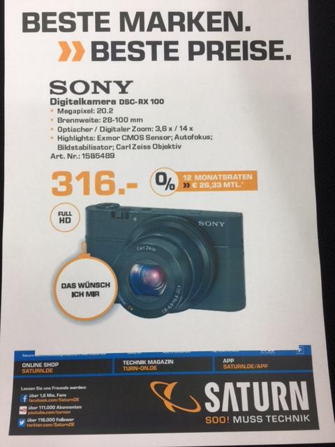 Saturn Osnabrück: Sony DSC-RX 100 Kamera
