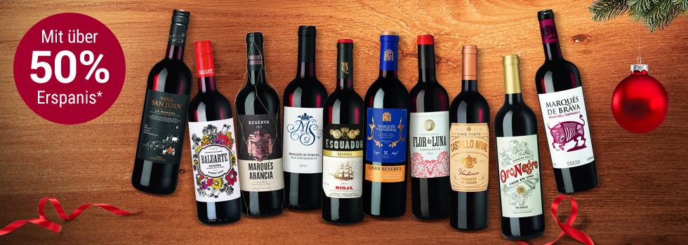 10 Flaschen Wein aus Spanien inkl. 2 Gläsern von Zwiesel Kristallglas