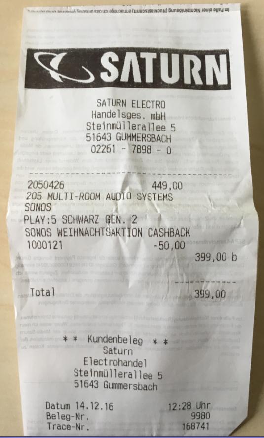 (LOKAL Saturn Gummersbach) SONOS Play:5 für 399 € in schwarz und Play:1 139 € in schwarz
