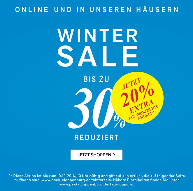 Peek&Cloppenburg 20% Rabatt auf bereits reduzierte Ware (online und offline)