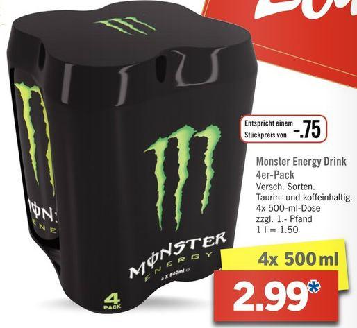 [Lidl] Monster Energy Drink 4er-Pack (0,75€ pro 500ml-Dose]