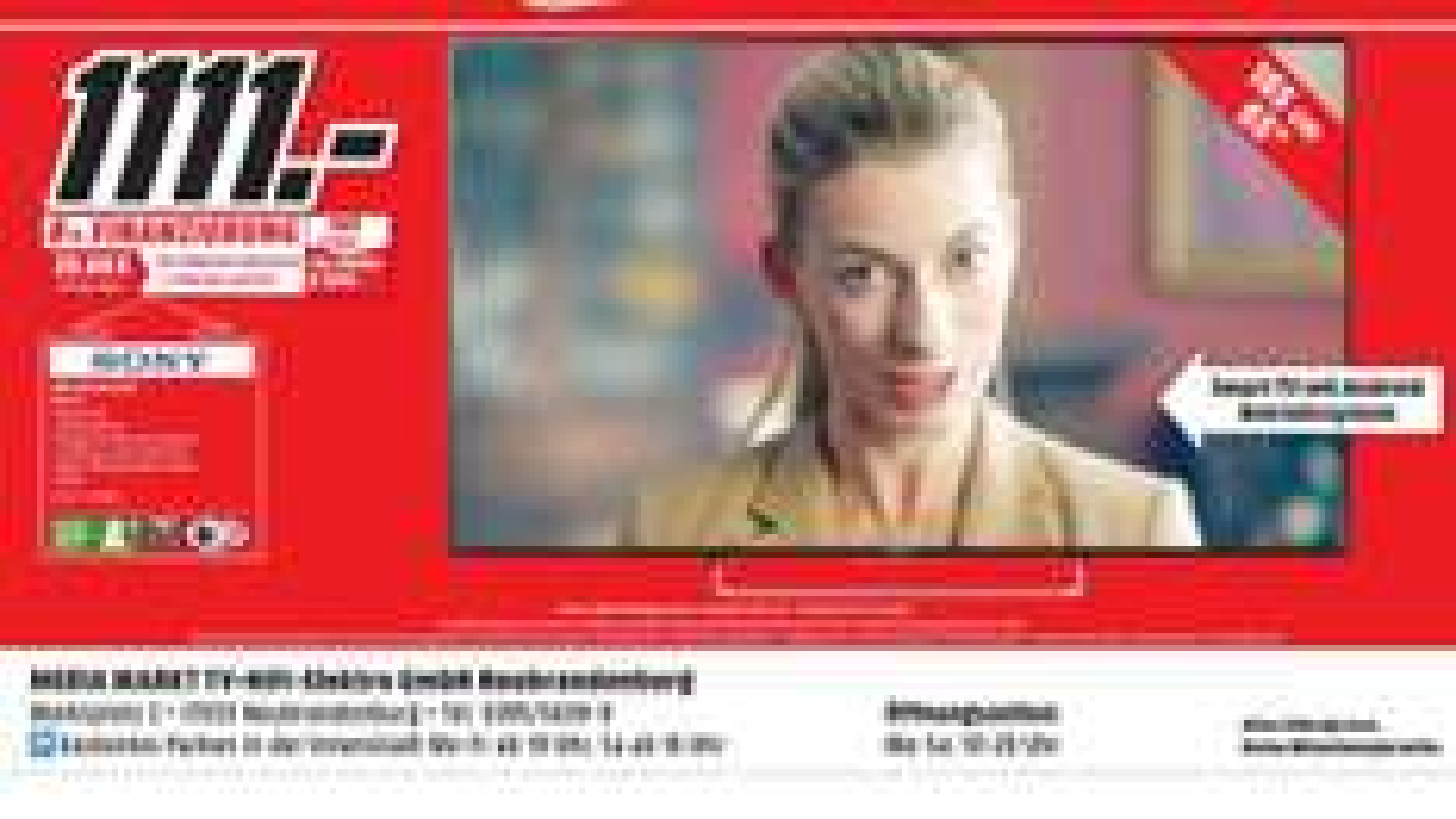 [Lokal MediaMarkt Neubrandenburg] Sony KDL-65W855C 165 cm (65 Zoll) Fernseher (Full HD, Triple Tuner, 3D, Smart TV) [Energieklasse A+]