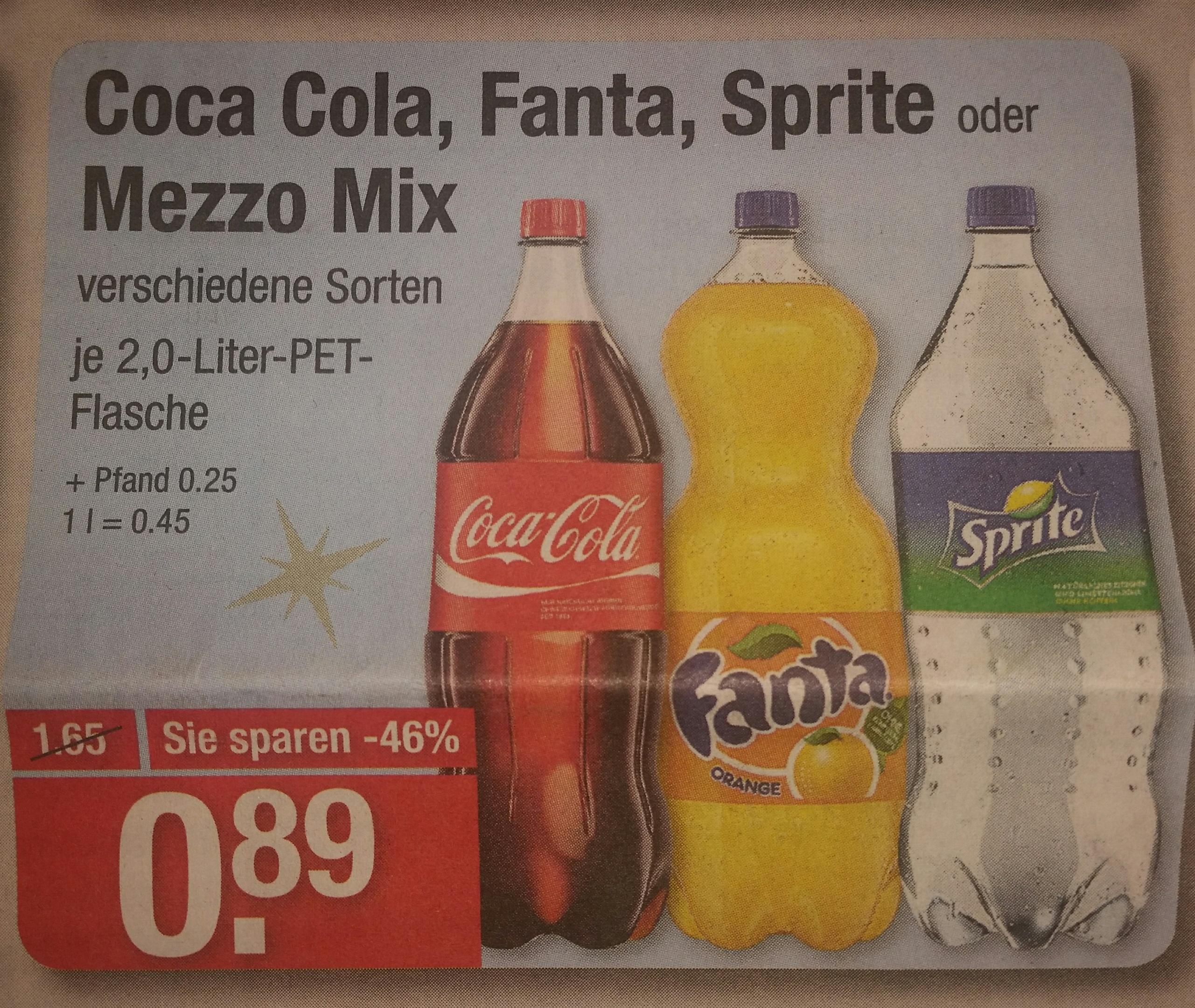 [V-Markt] Coca Cola 0,45€ / Liter