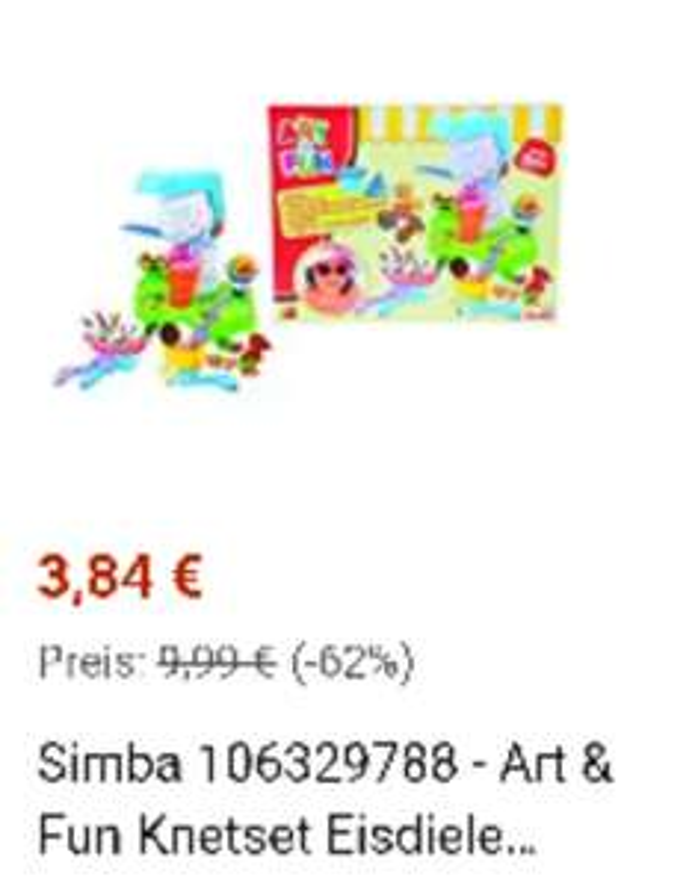Simba 106329788 - Art & Fun Knetset Eisdiele 4x50g 15-teilig