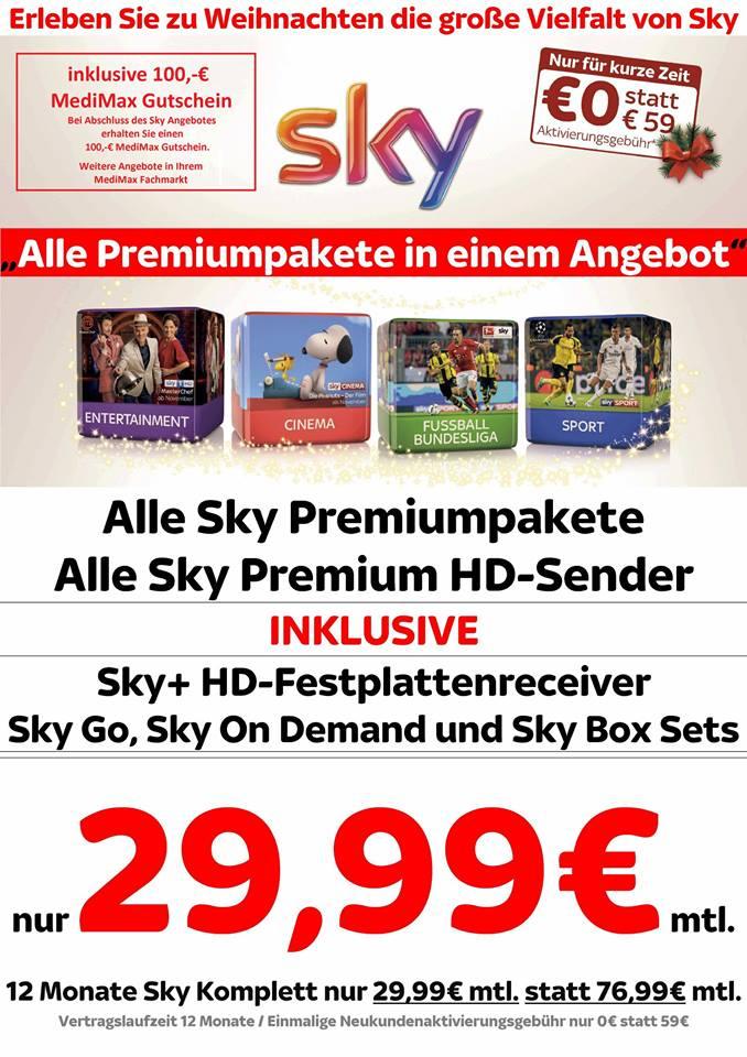 [Lokal Zeitz (Sachsen-Anhalt)] Sky komplett inkl HD 29,99 - 100 Euro Gutschein
