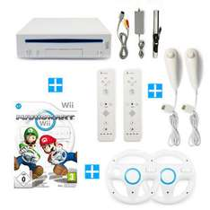 Nintendo Wii Konsole + Mario Kart+ 2 Remotes + 2 Nunchuks + 2 Lenkräder / gebraucht