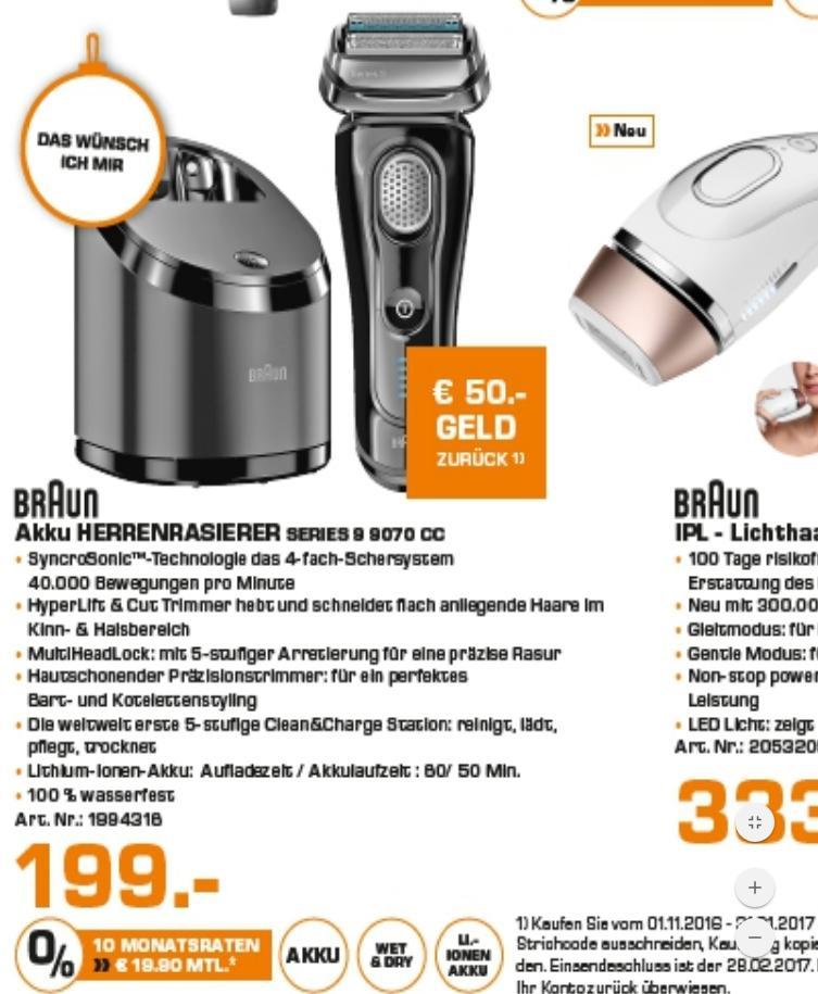 Braun Series 9 9070 CC mit Reinigungstation (50€ Cashback also 149€ Effektiv) Saturn BERLIN LOKAL