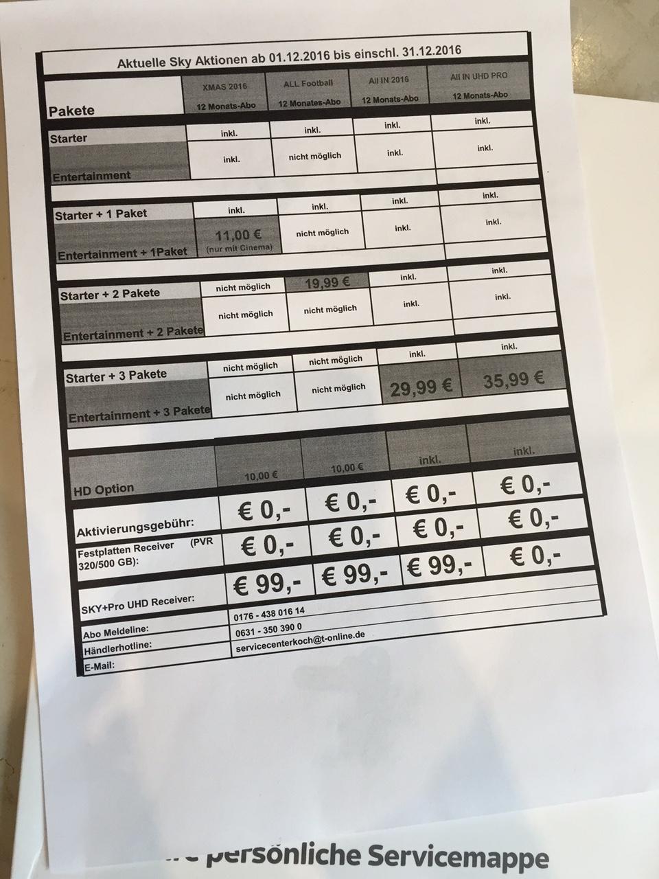 Sky All in für 29,99€ inkl. HD ohne Aktivierungkosten