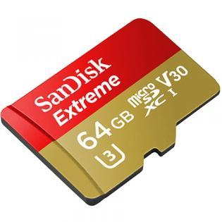 SanDisk Extreme 64GB microSDXC für Action-Sport-Kameras Speicherkarte bis zu 90 MB/Sek, Class 10, U3, V30 + 10fach Payback [Redcoon]