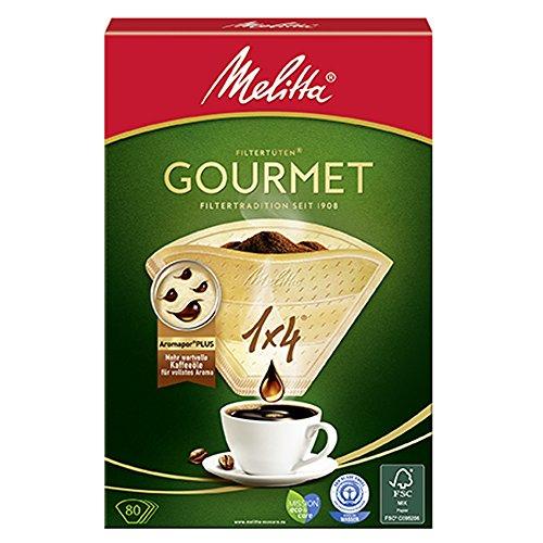 (Amazon PlusProdukt/Spar-Abo) Melitta Gourmet Filtertüten, AromaporenPlus, Naturbraun, 4er Pack (4 x 80 Stück)