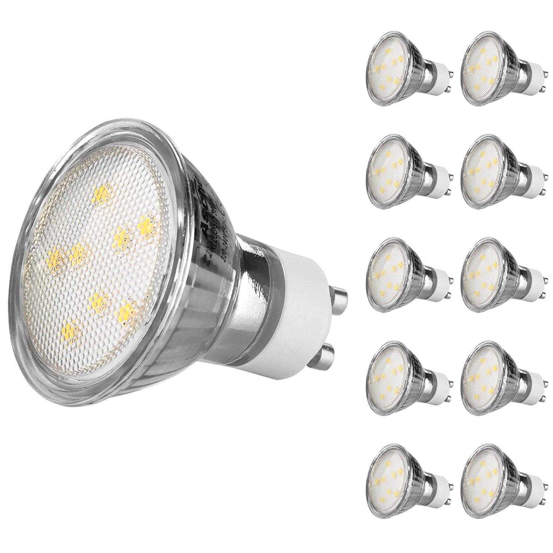 Ascher 10er Pack GU10 LED 4W Lampe - vgl. 50W Halogen - 420 Lumen - Warmweiß - 120° [Energieklasse A+] für 22,39 € @ amazon prime