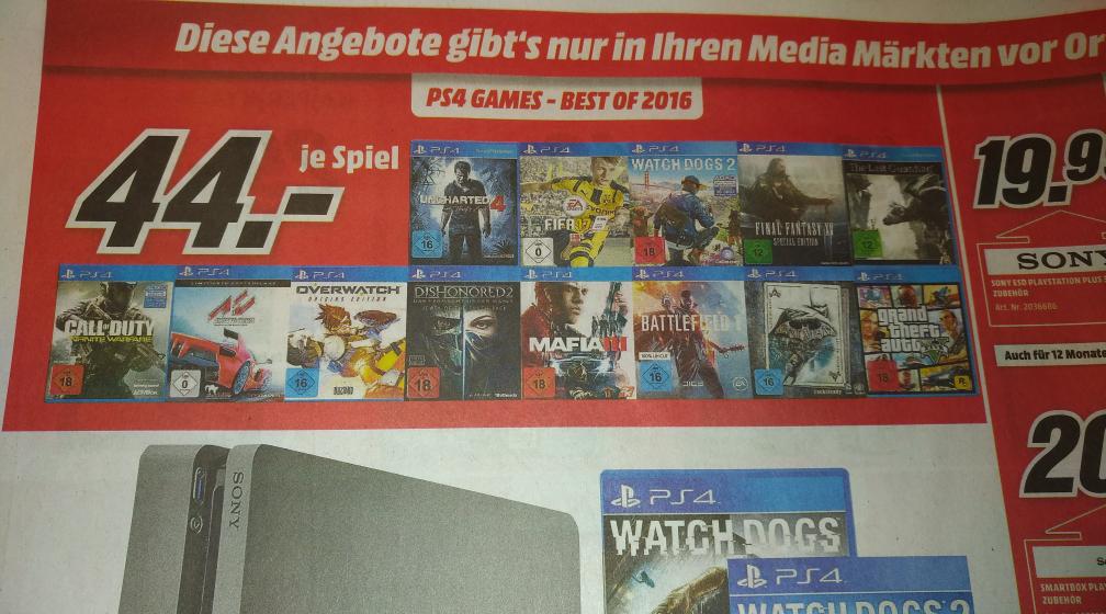 [MediaMarkt Weiden] Div. PS4/Xbox One Games für 44€ - u.a. The Last Guardian, FF XV