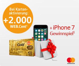 25 Euro (2.500 WEB.Cent) für Beantragung und Einsatz von Gebührenfrei Mastercard GOLD