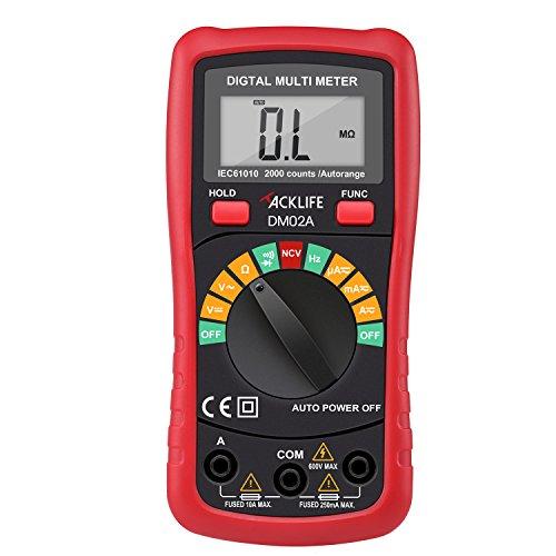 Tacklife DM02A Digital Multimeter Messgerät  von Gleich(DC) - und Wechsel(AC)-Spannung, Strom, Dioden - und Akustikdurchgang sowie Widerstand Meter mit Rabattcode auf Amazon