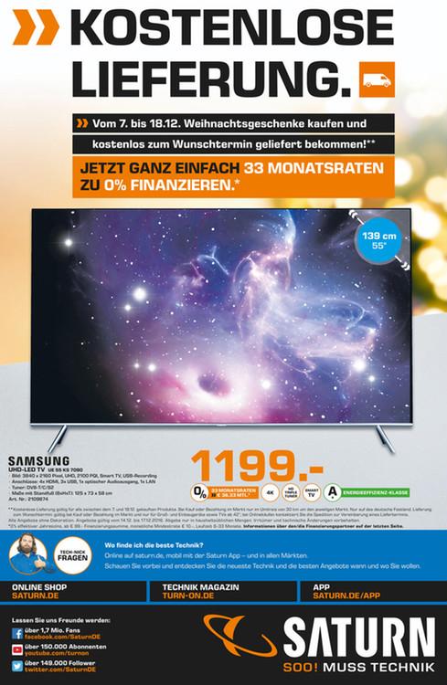 [Lokal Saturn HH und MM Elmshorn] Samsung UE55KS7090 - 4k SUHD, HDR, Quantum Dot, Triple Tuner, niedriger Input-lag