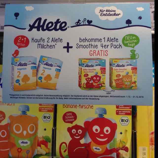 Alete 4er Smoothie gratis bei Kauf von 2x Alete Milch - gesehen bei dm
