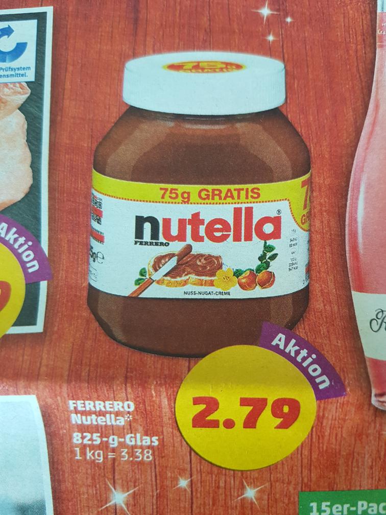 Penny Nutella 825g Glas für 2,79€ (3,38€/kg)