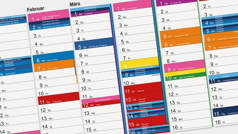 Integrationsministerium NRW: Interreligiöser Wandkalender 2017 kostenlos