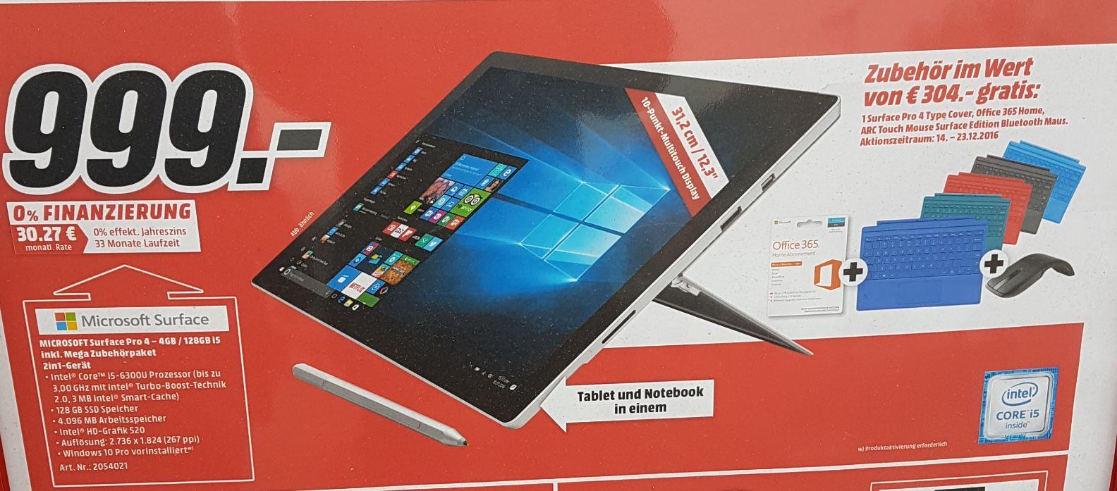 [nur lokal?] Media Markt Ingolstadt: Surface Pro4 4GB / 128GB i5 +300€ Zubehör (Office, Maus, Tastatur)