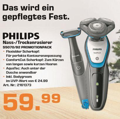 [Saturn ab 17.12 -20.00 Uhr] Philips Promotionpack-AquaTouch (S5070/92)-Nass-/Trockenrasierer + Smart Click Trimmer (BG1024) + Bodygroom für zusammen 59,99€ Versandkostenfrei**Aktion Aktiv!
