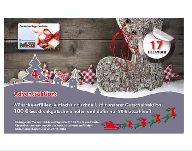 Schuh Mücke - 100€ Gutschein für 80€ - in allen Filialen am 17.12.2016