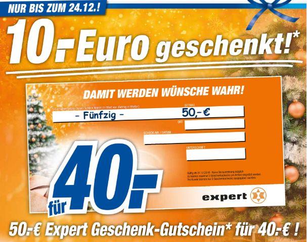 [Offline alle 20 Expert-Technikmarkt Filialen] 50,-€ Expert Geschenkgutschein für 40,-€