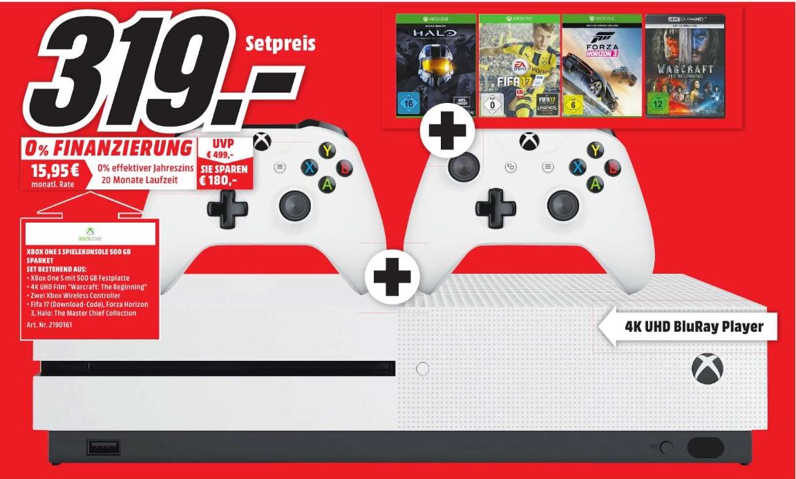 Media Markt Amberg XBOX ONE S 500GB + 3 Spiele ( FIFA 17, HALO TMCC, FORZA HORIZON 3 ) + 1 Film ( Warcraft the Beginning in 4K UHD ) und 2 Wireless Controller für 319 Euro