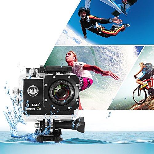 """Amazon.de: KEHAN C70 HD 1080P 60fps Mini Wi-Fi Actionkamera Sport Kamera 16MP H.264 2.0"""" LCD 170° Weitwinkel mit Verschiedenen Aufnahmemodi Zeitraffer/Loop-Aufnahme/Zeitlupe Schwarz"""