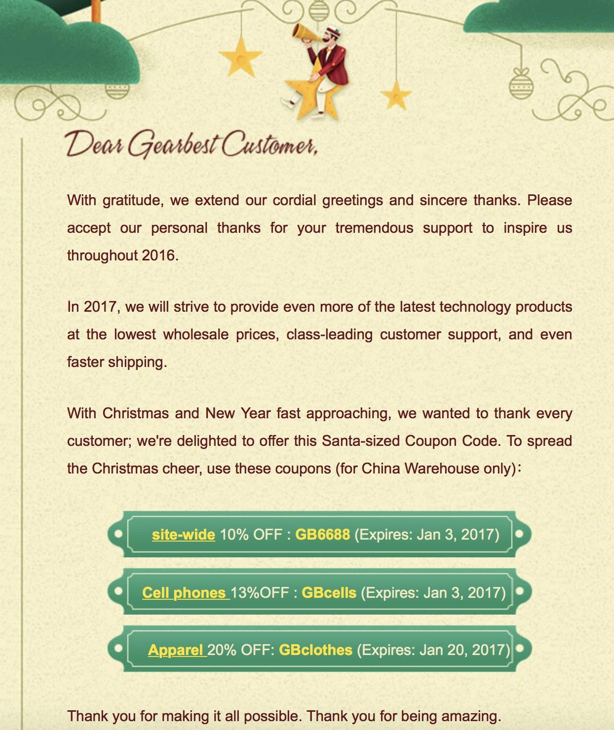 Gearbest verabschiedet das Jahr 2016 und verteilt Gutscheine für das China-Warehouse