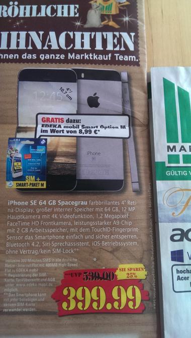 iPhone SE 64GB (Lokal Marktkauf Ulm, Senden, Riedlingen)