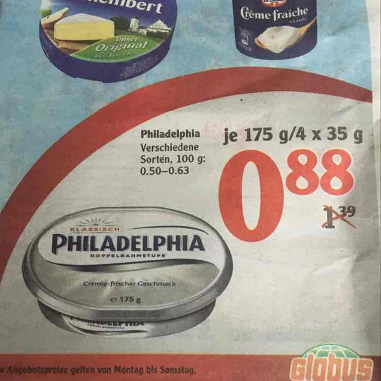 Globus - Philadelphia verschiedene Sorten - 19.12-24.12
