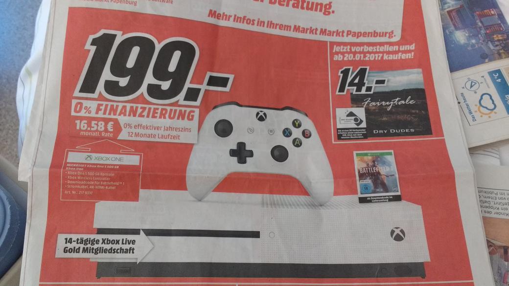 Xbox One S, 500 GB weiß mit Battlefield 1 für 199 EUR @MM Papenburg