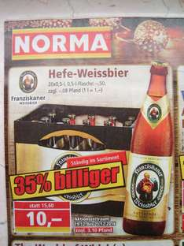 [Norma offline] Franziskaner Hefeweißbier 20x 0,5l für 10 EUR