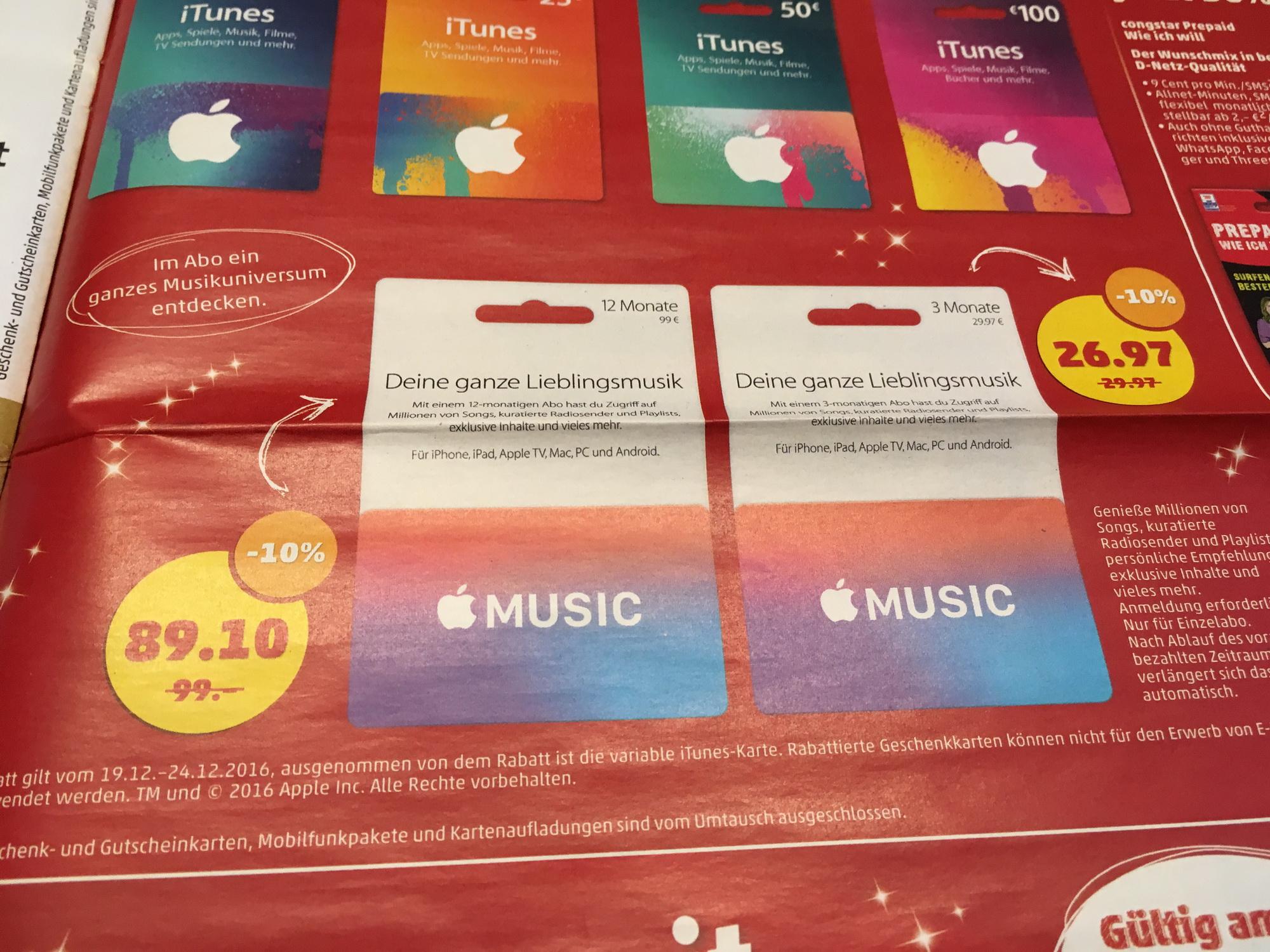 [Penny] Apple Music Prepaidcard - 3 Monate 26,97€ oder 12 Monate 89,10€