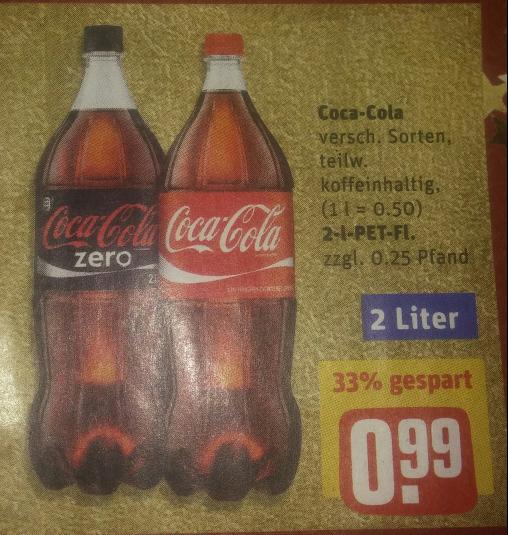 [REWE] Coca Cola 2 L (0,50 €/L) ab dem 19.12.2016