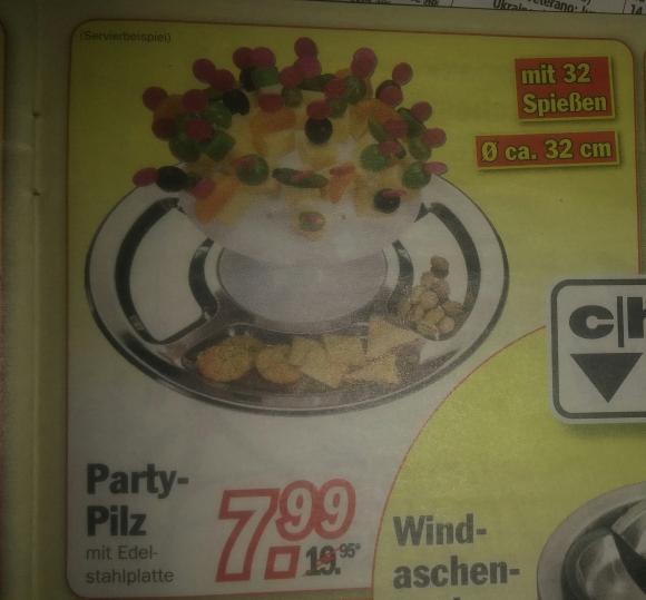 [Zimmermann] Partypilz (32 cm Durchmesser) mit 32 Spießen ab dem 19.12.2016