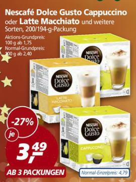 Nescafe Dolce Gusto Kapseln (16er) für 3,49€ ab 3 Packungen