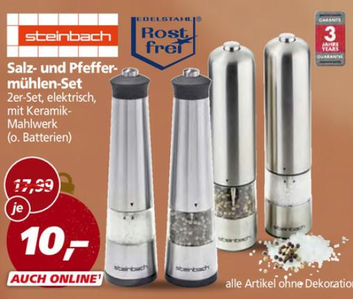 Steinbach Edelstahl Salz und Pfeffer Mühlen Set