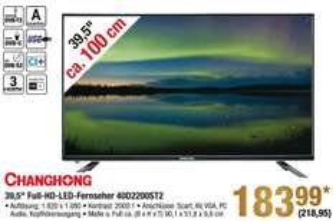 [METRO] Changchong 39,5 Zoll Full HD TV - LED40D2200ST2 - ab dem 22.12