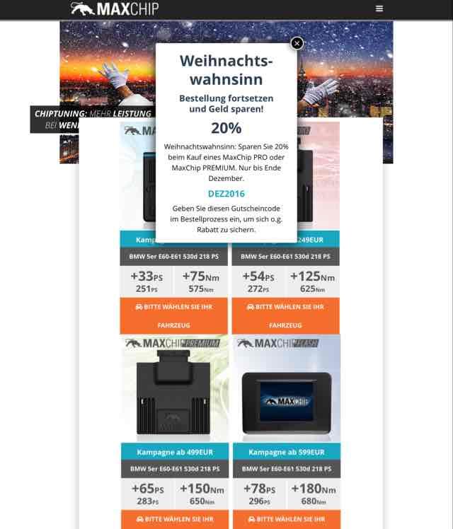 Auto Chip Tuning bei MaxChip 20% auf Pro/Premium