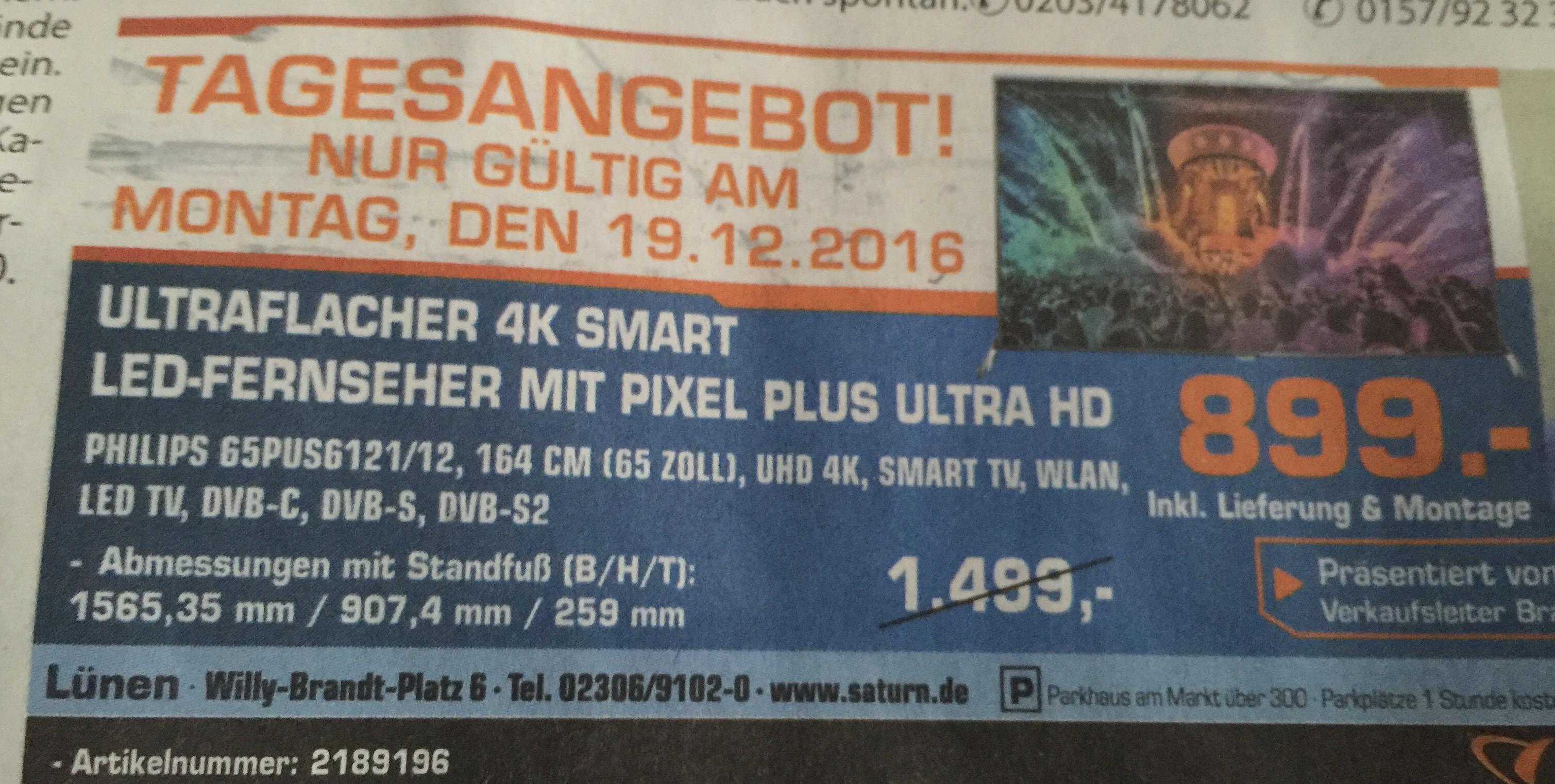 [Saturn] Update: Bundesweit! PHILIPS 65PUS6121/12 65 ZOLL UHD 4K TV  für 899€