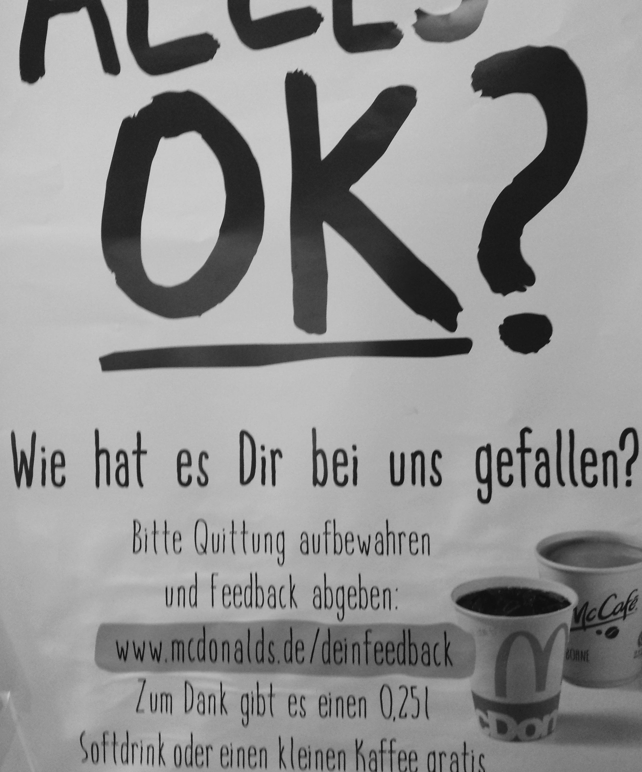 (Mc Donalds) Gratis Softdrink oder Kaffe für Feedback (Quittung nötig)