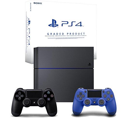 PlayStation 4 - Konsole C Chassis 500GB (Zertifiziert und Generalüberholt) + 2. DualShock 4 Wireless Controller, schwarz/blau (2016)